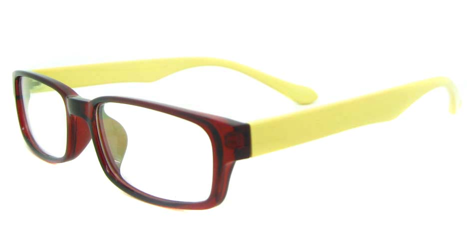 brown with yellow tr90 Rectangular glasses frame YL-KDL8039-C8
