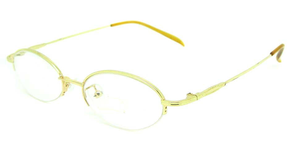 gold metal oval glasses frame  JS-SML3002-J