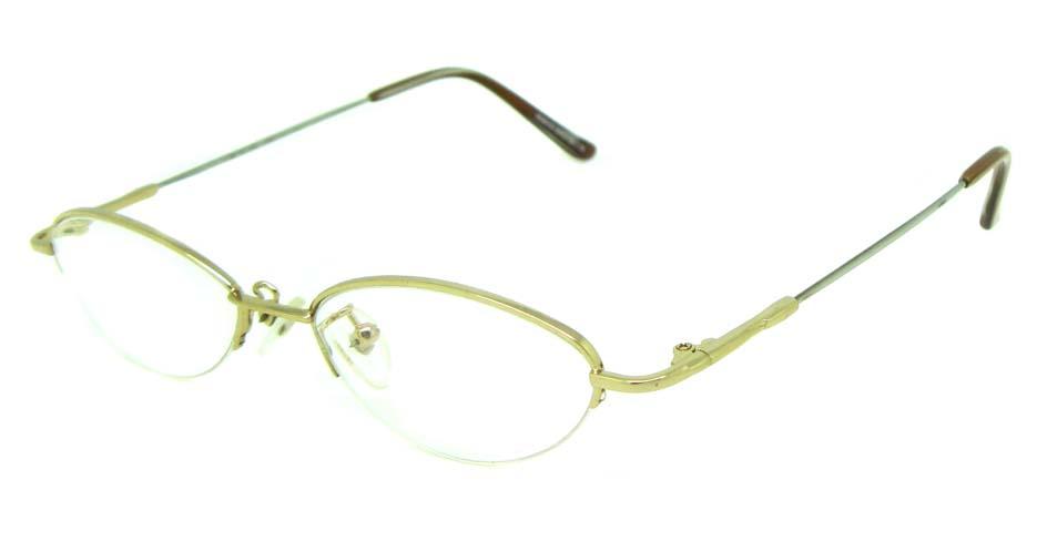 gold metal oval glasses frame JS-LJS9915-J