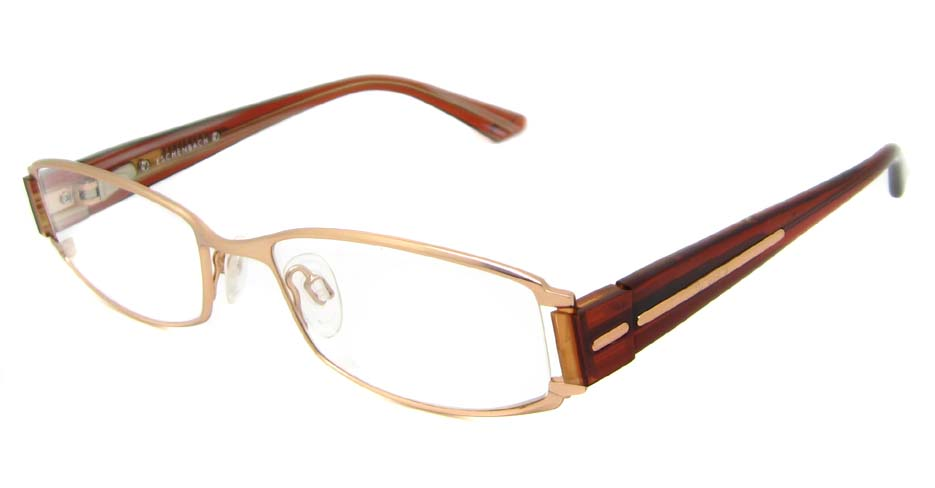 gold with brown blend Rectangular glasses frame HL-BRE902017-J