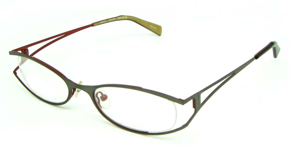 grey metal oval glasses frame HL-ST2172-215