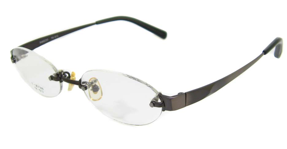grey with black Titanium  oval rimless glasses frame HD-TK012-C03