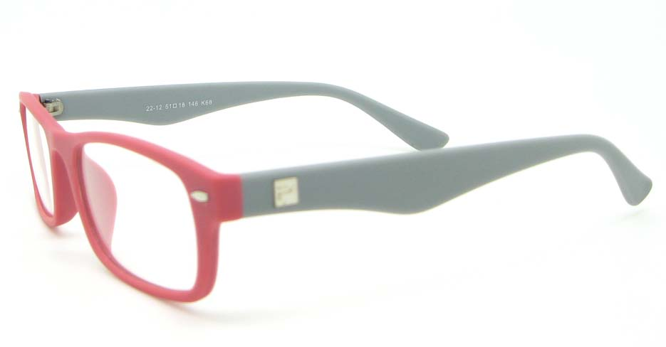 grey with pink retro plastic oval glasses frame WLH-2212-68