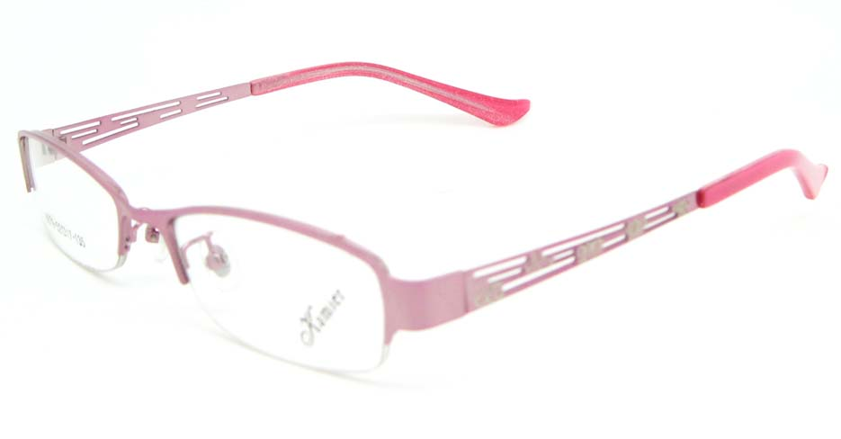 pink metal oval glasses frame WKY-KM8879-F