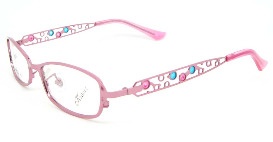 pink metal oval glasses frame WKY-KM8881-F