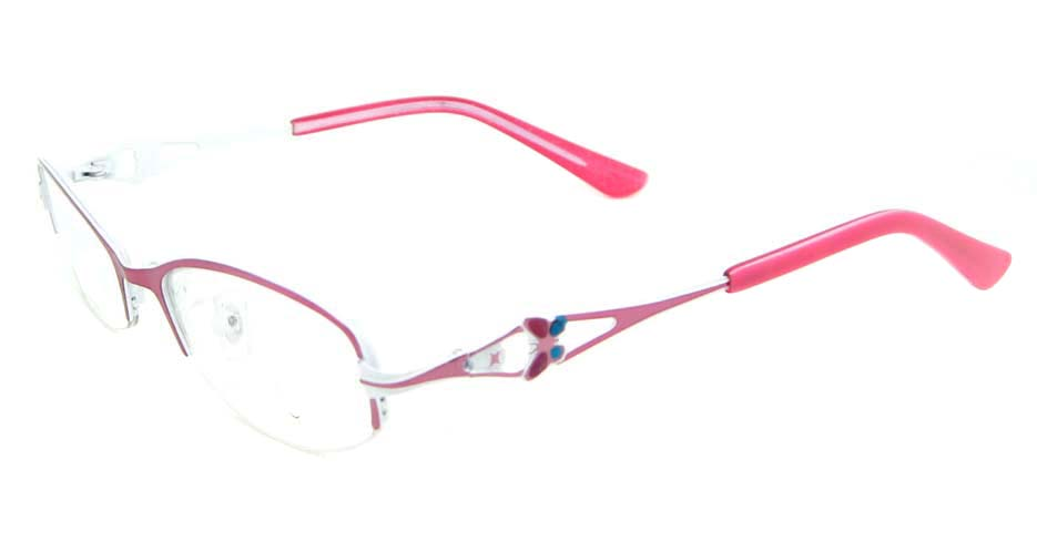 pink metal oval glasses frame WKY-KM8882-F
