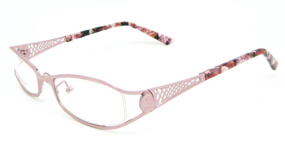pink metal oval glasses frame WKY-XDBL508-F