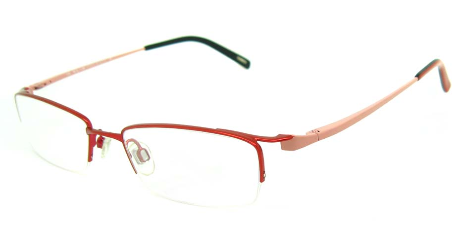 pink metal rectangular glasses frame HL-226