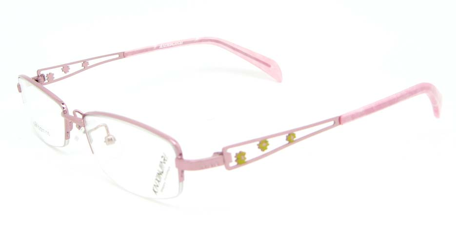 pink metal rectangular glasses frame WKY-KNXJ6268-F