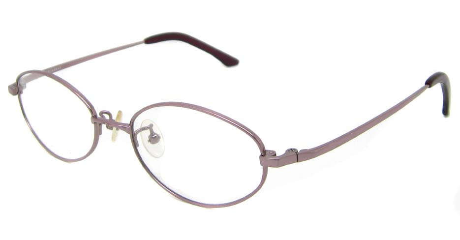 pink oval titanium glasses frame HL-B2017-E08