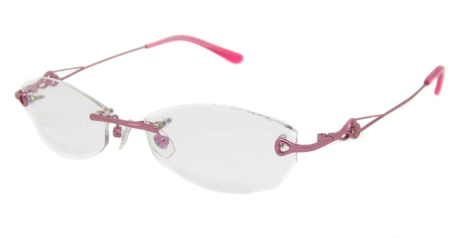 pink rimless glasses