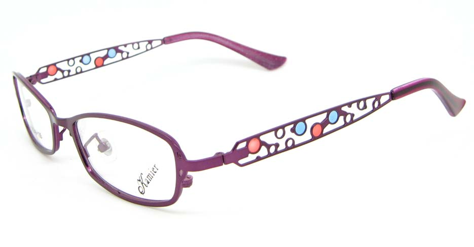 purple metal oval glasses frame WKY-KM8881-Z
