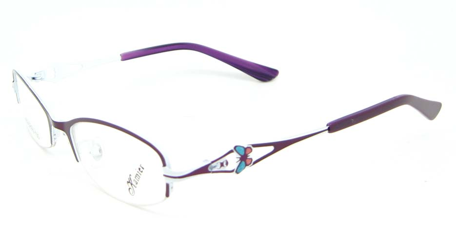 purple metal oval glasses frame WKY-KM8882-Z