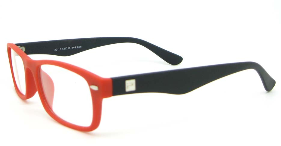red with black and black retro plastic oval glasses frame WLH-2212-K66