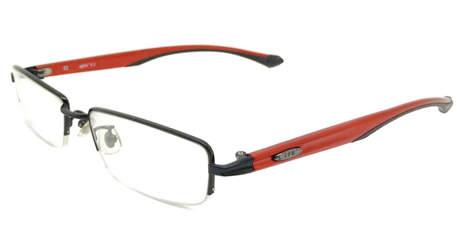 red with black metal oval sport glasses frame LT-H018-C1