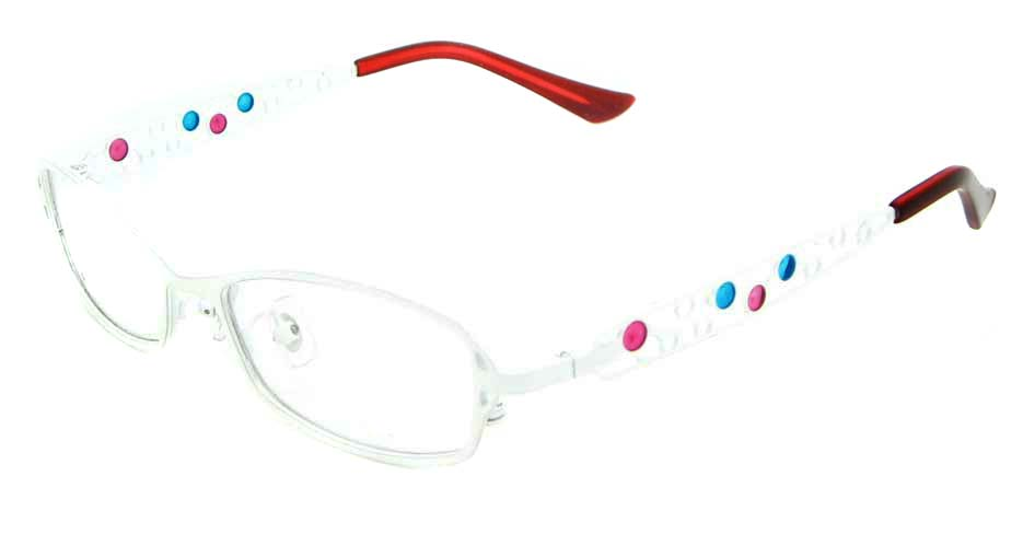 white oval metal glasses frame WKY-KM8881-BS
