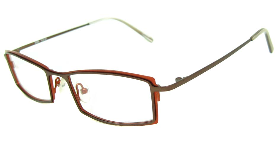 wine with brown metal rectangular glasses frame HL-2260