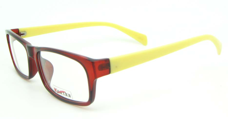 yellow with red tr90 rectangular glasses frame YL-KLD8052-C4